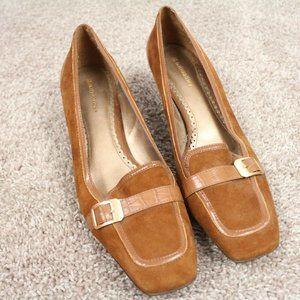 Naturalizer 9.5 M Saddle Tan Quaint Suede Heels